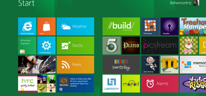 Windows 8 Developer Preview Start Screen